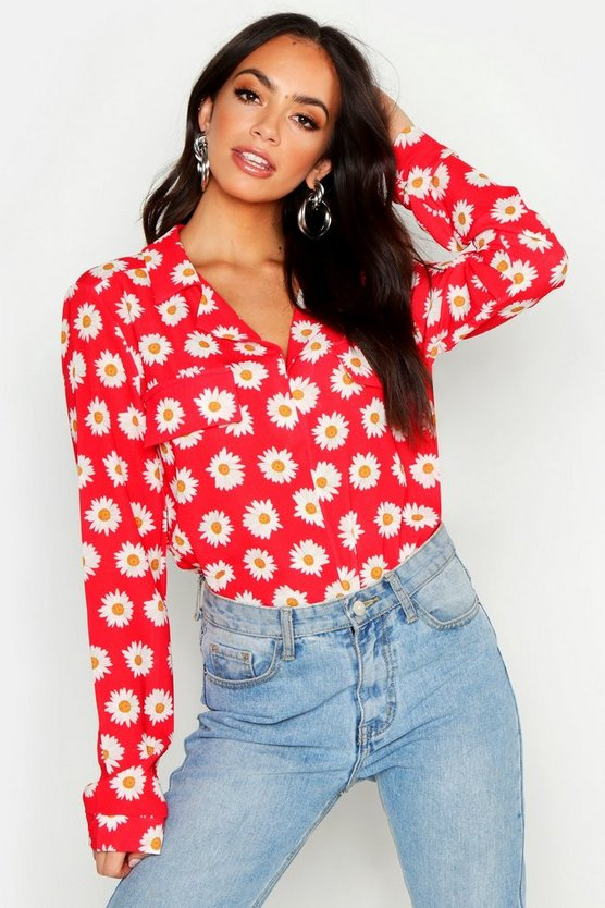 Womens Red Floral Utility Pocket Shirt