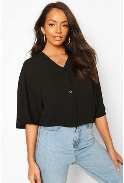 Black Oversized Button Detail Blouse
