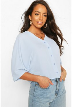Blue Oversized Button Detail Blouse