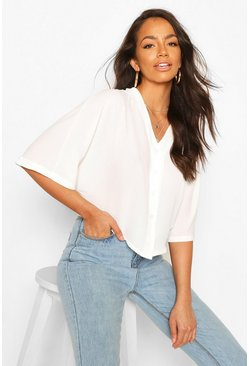 Ivory Oversized Button Detail Blouse