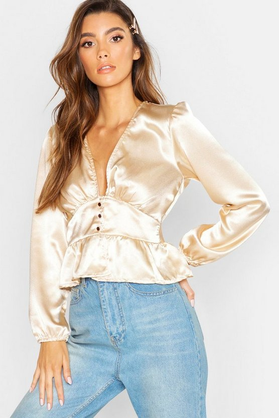 Womens Champagne Button Detail Frill Hem Satin Top