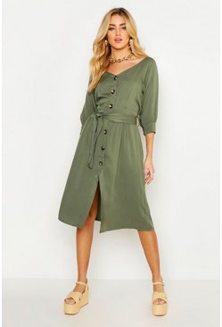 Womens Khaki Button Through Belted Shirt Midi Dress