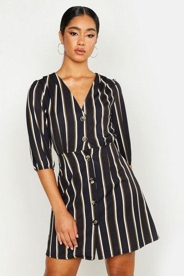 Womens Black Woven Button Through Stripe Dress