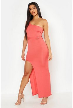 Womens Apricot Rib One Shoulder Belted Maxi Dress