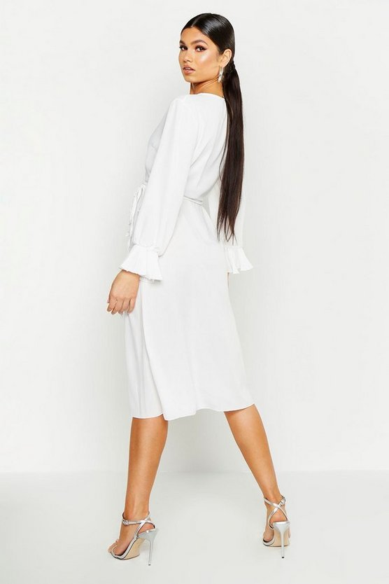 Pleated Chiffon Flare Sleeve Midi Dress