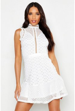 Womens White High Neck Mix Lace Frill Hem Mini Dress