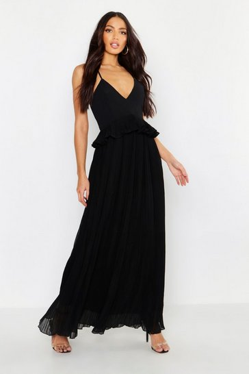 Black Woven Pleated Frill Maxi Dress