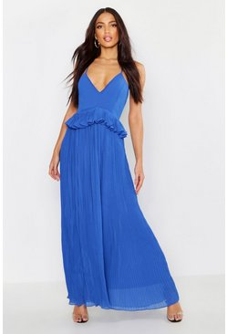 Womens Cobalt Woven Pleated Frill Maxi Dress