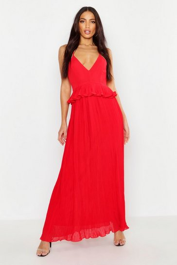 Womens Red Woven Pleated Frill Maxi Dress
