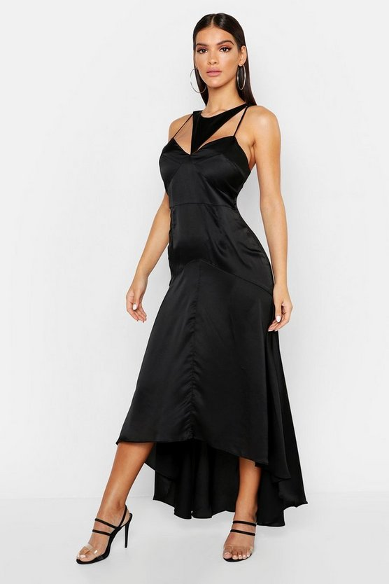 Womens Black Satin Cupped Cut Out Maxi Dress