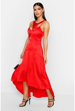 Red Satin Cupped Cut Out Maxi Dress
