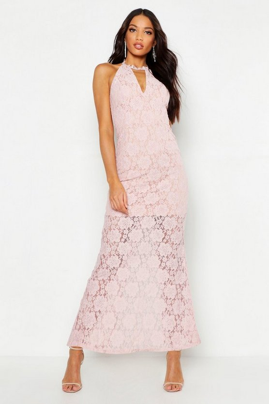 Womens Soft pink Lace Choker Plunge Maxi Dress