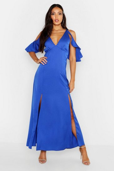 Womens Cobalt Woven Plunge Flutter Cold Shoulder Maxi Dress