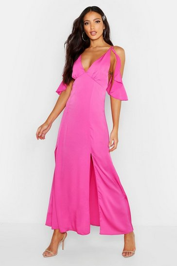 Womens Hot pink Woven Plunge Flutter Cold Shoulder Maxi Dress