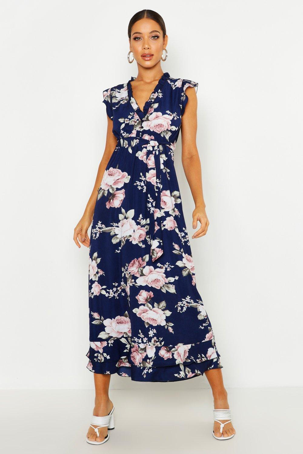 outlet online elegant and graceful lovely design Woven Floral Ruffle Belted Maxi Dress | Boohoo
