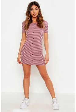 Womens Mink Rib Stripe Button Bodycon Dress
