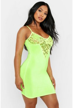 Womens Neon-lime Lace Cup Slinky Bodycon Dress