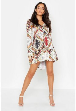 Dam Multi Printed V Neck Tiered Smock Dress