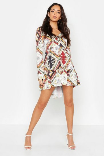 Womens Multi Printed V Neck Tiered Smock Dress