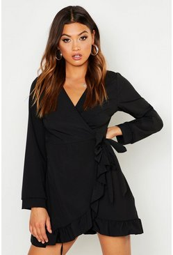 Womens Black V Neck Tiered Smock Dress