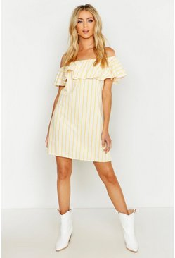 Womens Mustard Off The Shoulder Frill Swing Dress
