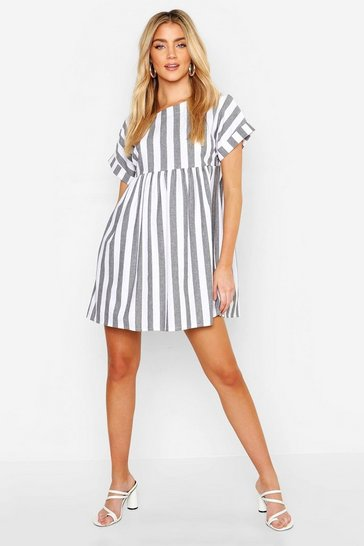 Womens Grey Linen Look Stripe Smock Dress