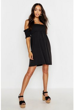 Black Short Sleeve Off The Shoulder Shirred Top Skater Dress