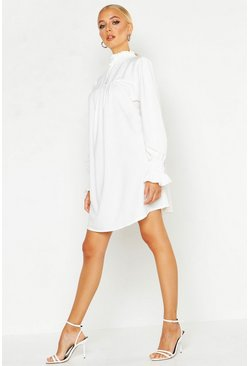 Womens White Shirred Neck Smock Dress