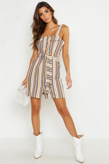 Womens Multi Stripe Square Neck Button Bodycon Dress