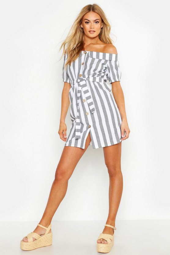 Womens Grey Off The Shoulder Belted Linen Stripe Dress
