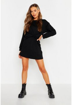 Womens Black Twist Front Detail Sweat Dress