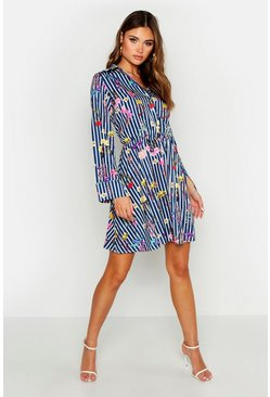 Womens Navy Printed Skater Skirt Shirt Dress