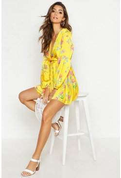 Womens Yellow Printed Wrap Tie Detail Skater Dress