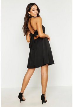 Womens Black Haleterneck Bow Back Detail Skater Dress