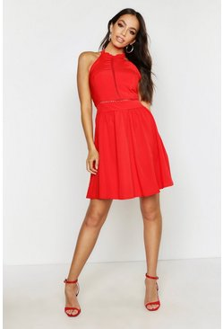 Womens Red Haleterneck Bow Back Detail Skater Dress