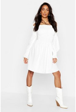 Womens White Off The Shoulder Shirred Top Skater Dress