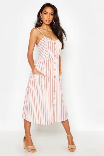 Womens Rust Stripe Button Through Linen Midi Dress