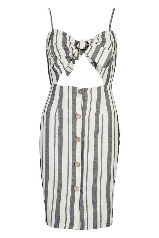 Strappy Stripe Cut Out Detail Bow Linen Bodycon Dress by Boohoo
