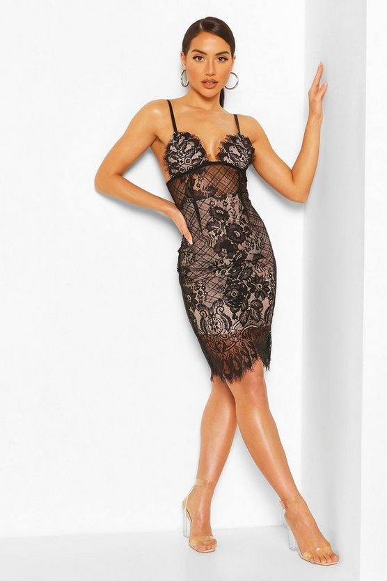Black Strappy Lace Midi Bodycon Dress