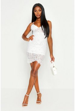 Ivory Strappy Lace Midi Bodycon Dress