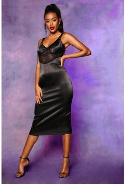 Womens Black Lace Top Satin Bodycon Midi Dress