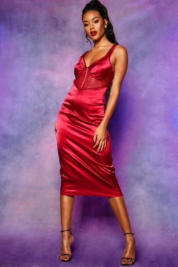 Womens Red Lace Top Satin Bodycon Midi Dress