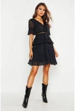 Womens Black V Neck Lace Trim Pleated Polka Dot Skater Dress