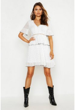 Womens White V Neck Lace Trim Pleated Polka Dot Skater Dress