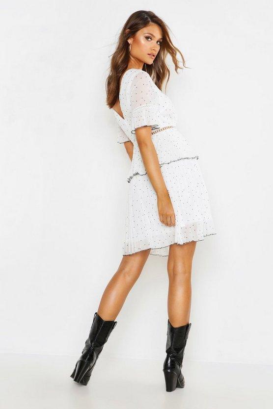 V Neck Lace Trim Pleated Polka Dot Skater Dress