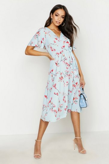 Blue Wrap Front Bow Tie Print Midi Dress