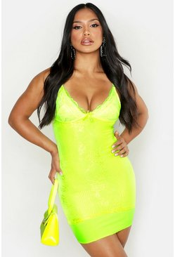 Neon-lime Lace Bodycon Mini Dress