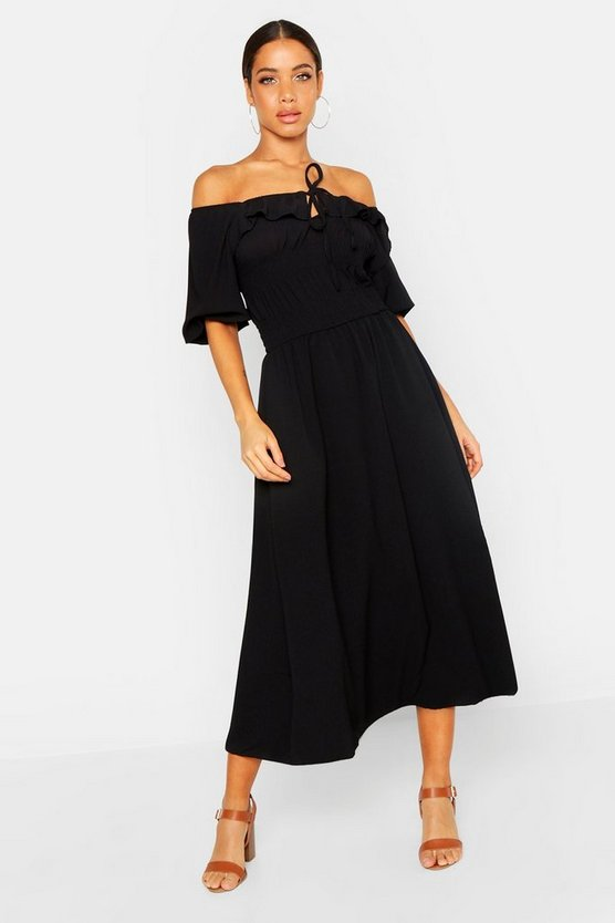 Womens Black Off Shoulder Smocked Waist Maxi Dress