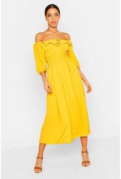 Mustard Off Shoulder Smocked Waist Maxi Dress