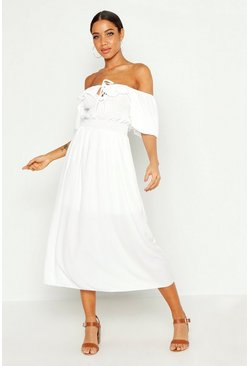White Off Shoulder Smocked Waist Maxi Dress